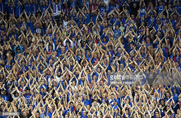 Iceland fans show their support during the UEFA EURO 2016 quarter final match between France and Iceland at Stade de France on July 3 2016 in Paris...