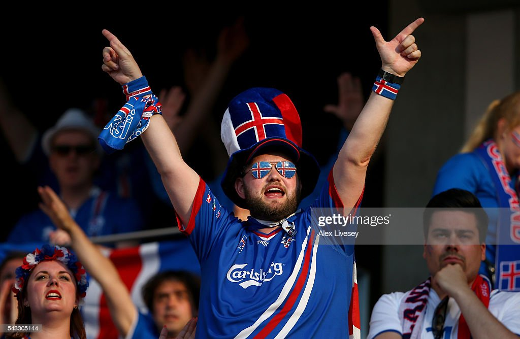Iceland fans show their support prior to the UEFA EURO 2016 round of 16 match between England and Iceland at Allianz Riviera Stadium on June 27, 2016 in Nice, France.