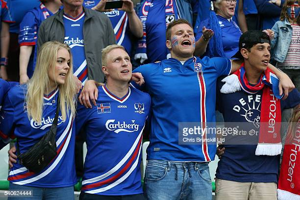 Iceland fans support their team during the UEFA Euro 2016 Group F match between Portugal and Iceland at Stade GeoffroyGuichard on June 14 2016 in...