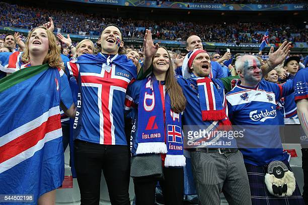 Iceland fans support their team during the UEFA Euro 2016 Quarter Final match between France and Iceland at Stade de France on July 03 2016 in Paris...