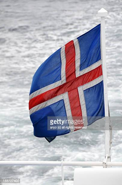 Iceland flag flying at sea