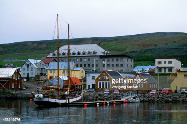 Iceland HUSAVIK Harbor Old Wooden Sailboat Used For Whale Watching