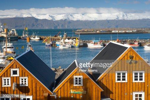 Iceland, Husavik harbour, elevated view