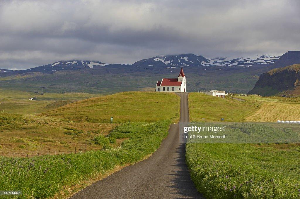 Iceland, Ingjaldsholl church : Stock Photo