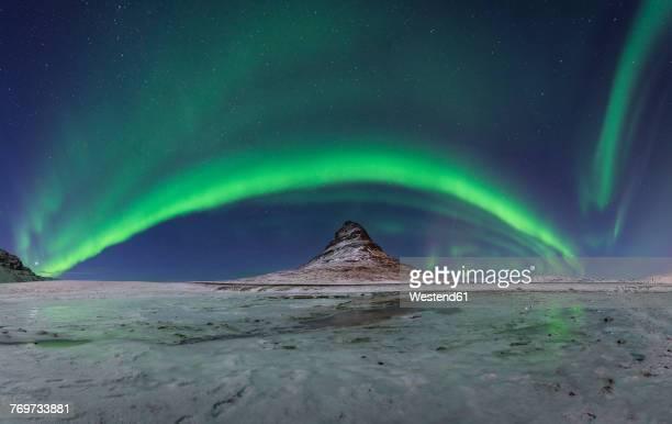 Iceland, Kirkjufell mountain with northern lights
