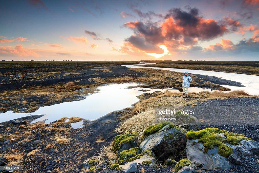 Iceland landscape tourist : Stock Photo