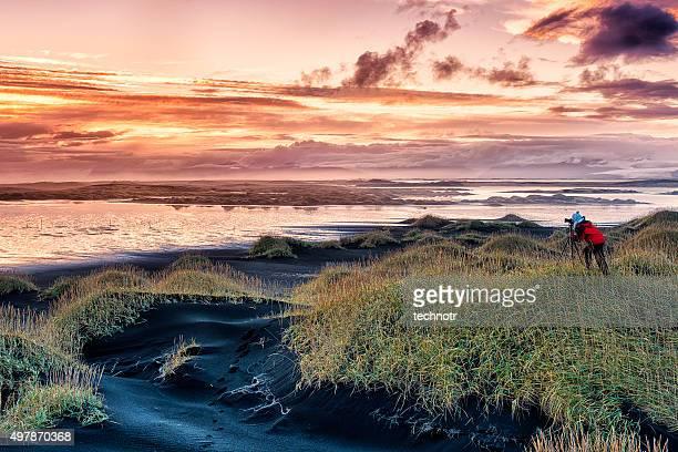 Iceland Lanscape at Sunset, Stokksnes, East Iceland