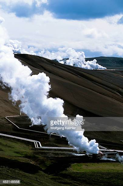 Iceland Myvatn Lake Area Namaskard Volcanic Area Krafla Geothermic Power Station Pipes For Steam