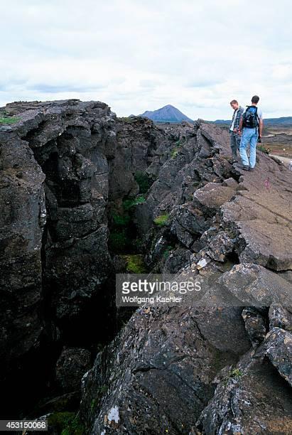 Iceland Myvatn Lake Area Volcanic Fissure Tourists