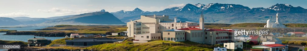 Iceland ocean fjord village colorful homes mountain landscape panorama Stykkishólmur : Stock Photo