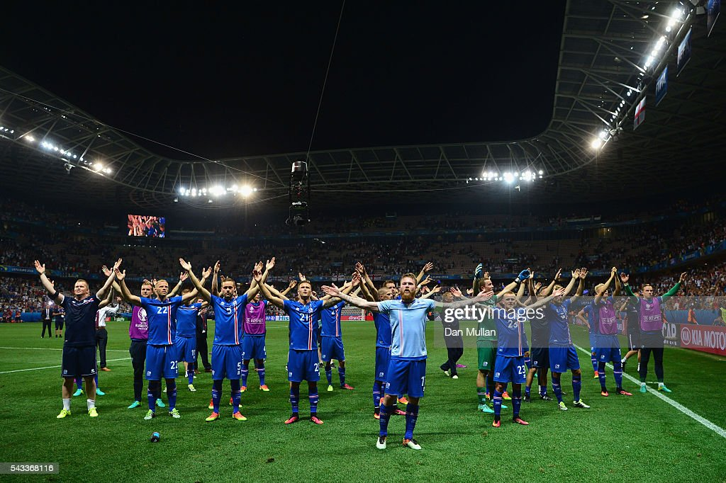 Iceland players celebrate their team's 2-1 win in the UEFA EURO 2016 round of 16 match between England and Iceland at Allianz Riviera Stadium on June 27, 2016 in Nice, France.
