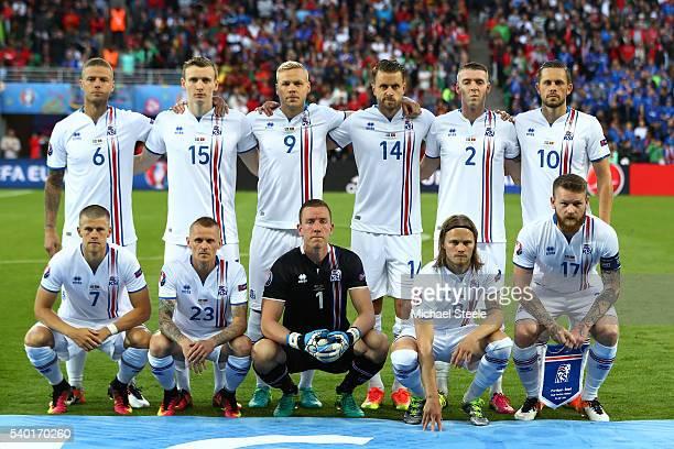 Iceland players line up for the team photos prior to the UEFA EURO 2016 Group F match between Portugal and Iceland at Stade GeoffroyGuichard on June...