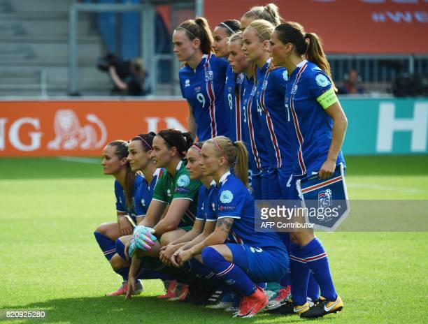 Iceland players pose for a photograph prior to the the UEFA Womens Euro 2017 football tournament match between Iceland and Switzerland at Stadion De...