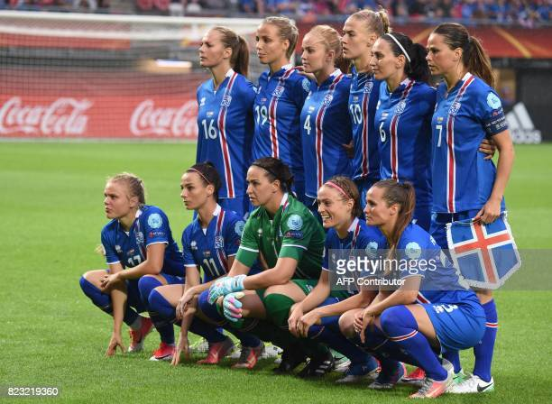 Iceland players pose for a photograph prior to the UEFA Womens Euro 2017 football tournament match between Iceland and Austria at Sparta Stadium in...