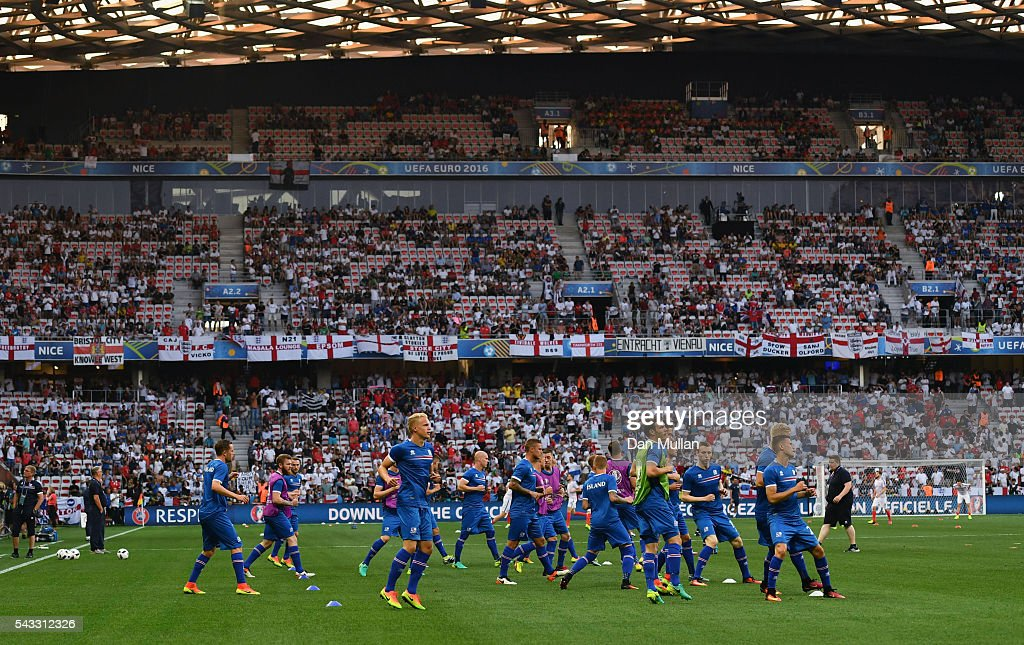 Iceland players warm up prior to the UEFA EURO 2016 round of 16 match between England and Iceland at Allianz Riviera Stadium on June 27, 2016 in Nice, France.