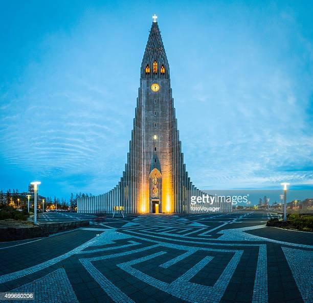 Iceland Reykjavik Hallgrimskirkja church iconic cathedral illuminated in Arctic dusk