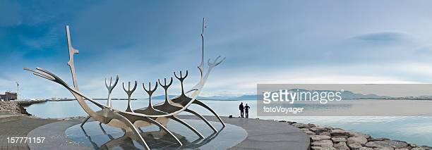 Iceland Reykjavik harbor sculpture panorama