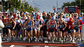 Iceland, Reykjavik Marathon, participants at start of race