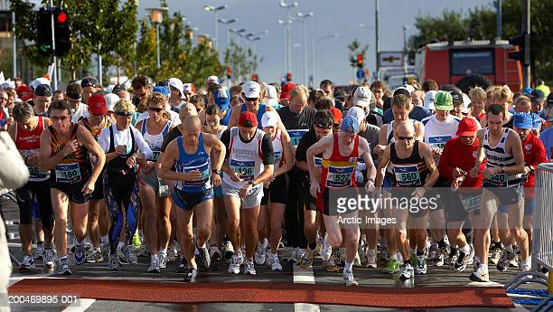 Iceland, Reykjavik Marathon, participants at start of race