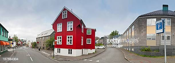 Iceland Reykjavík capital city center shops colorful homes streets panorama