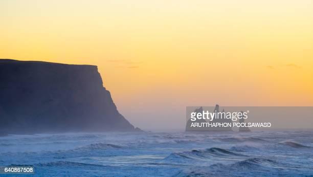 Iceland Reynisdrangar cliffs on Black sand beach in Vik , Landscape