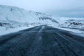 A road in winter in southern Iceland