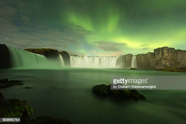 Iceland Scenery - Godafoss Waterfall and Northern Lights