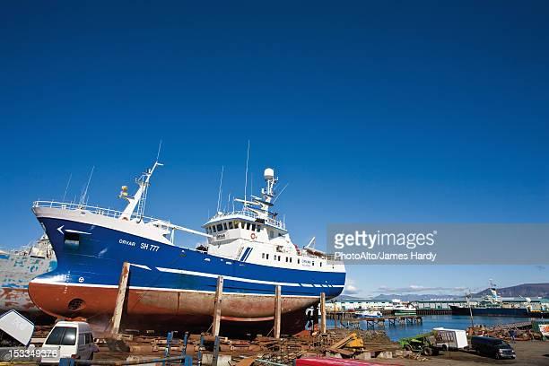 Iceland, ship in shipyard