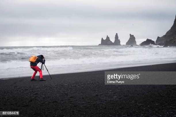 Iceland, South Iceland, Dyrholaeyjarviti, Vik Rock pinnacles and Reynisfjara beach