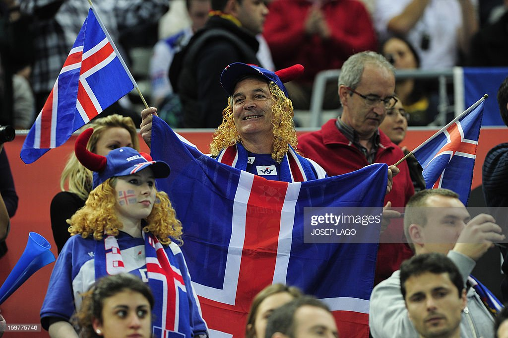 Iceland supporters cheer their team during the 23rd Men's Handball World Championships round of 16 match Iceland vs France at the Palau Sant Jordi in Barcelona on January 20, 2013. AFP PHOTO/ JOSEP LAGO