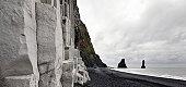 Iceland, Vik, basalt columns and black sand beach