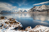 Iceland, Winter lake and mountains
