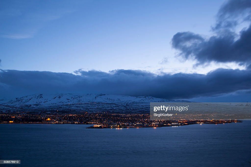 Icelandic city Akureyri at night : Stock Photo