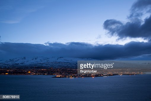 Icelandic city Akureyri at night : Stock Photo