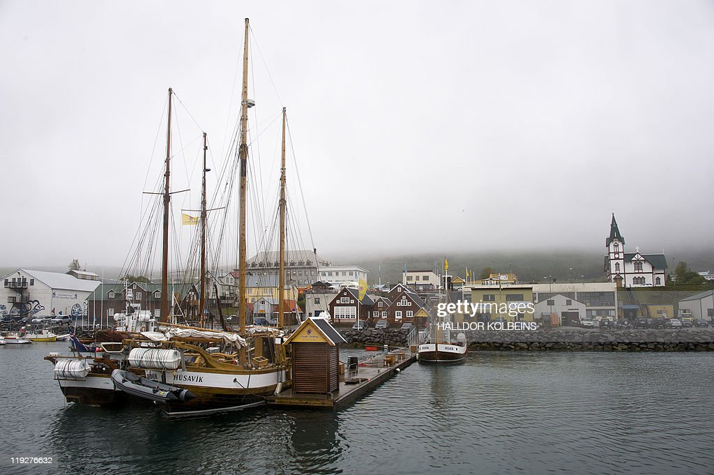Icelandic company North Sailing's boats are moored at the port of Husavik on June 28 2011 Since their meager beginning in the 1990s whale safaris in...