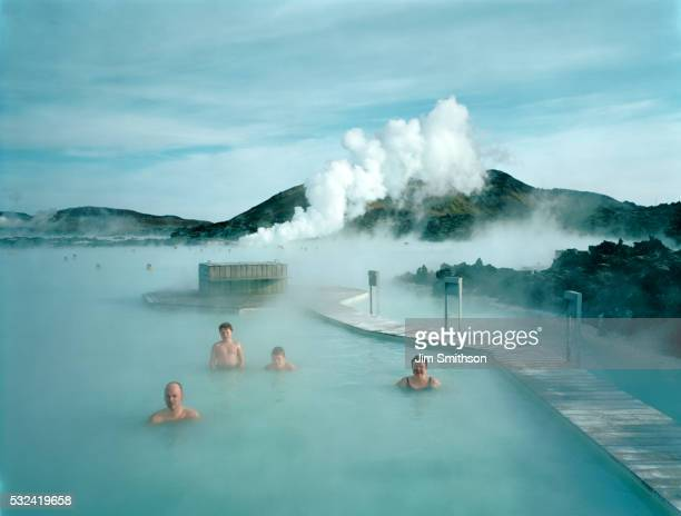 Icelandic family portrait in the Blue Lagoon in Iceland
