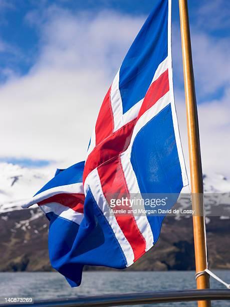 Icelandic flag on boat
