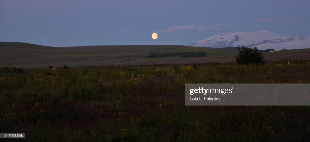 Icelandic landscape with Eyjafjallajökull volcano : Foto de stock