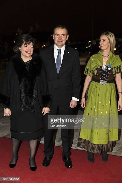 Icelandic President couple Gudni Thorlacius Johannesson and wife Eliza Jean Reid arrive to their Return Arrangement at Nordatlantens Brygge on...