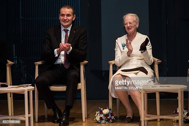 Icelandic President Gudni Jóhannesson and Queen Margrethe of Denmark attend the presentation of The National Gift The Complete Sagas of Icelanders...