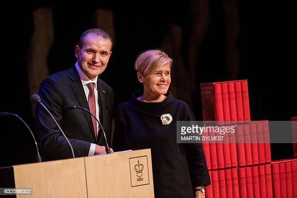 Icelandic President Gudni Johannesson and Danish Minister of Culture Mette Bock are pictured during the presentation of The National Gift The...