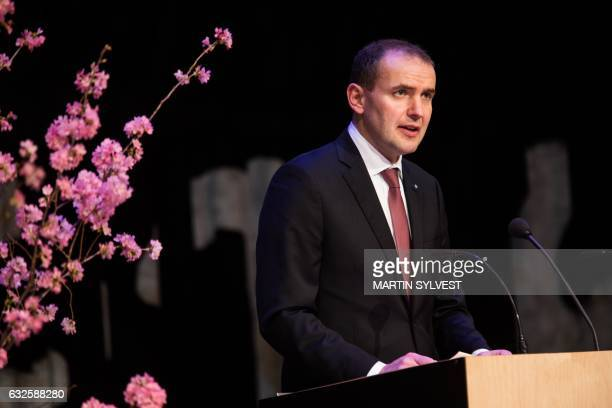 Icelandic President Gudni Johannesson delivers a speech during the presentation of The National Gift The Complete Sagas of Icelanders translated into...