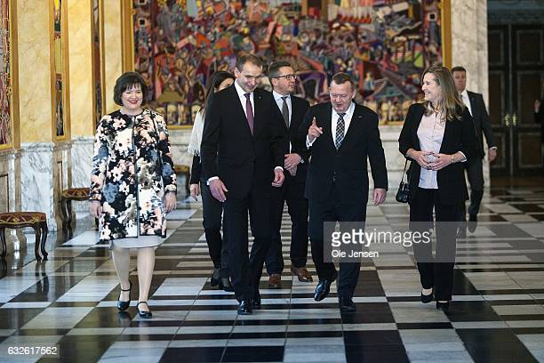 Icelandic President Gudni Thorlacius Johannesson and wife Eliza Jean Reid is received by Danish PM Lars Lokke Rasmussen and wife Solrun Lokke...