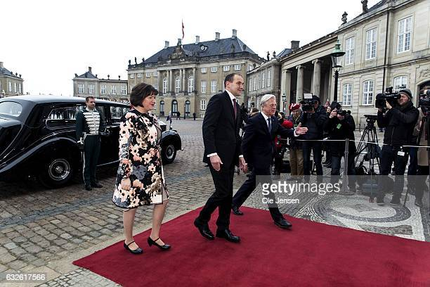 Icelandic President Gudni Thorlacius Johannesson and wife Eliza Jean Reid is let by Lord Chamberlain Michael Eherenrich on the red carpet to...