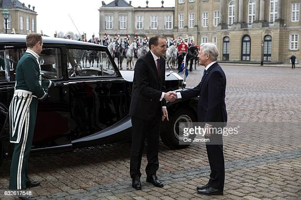 Icelandic President Gudni Thorlacius Johannesson is received by Lord Chamberlain Michael Eherenreich at Christian VII Palace at Amalienborg on...