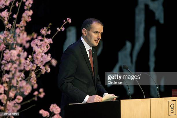 Icelandic President Gudni Thorlacius Johannesson speaks under the attention of Queen Margrethe at 'The Black Diamond' during his presentation of the...