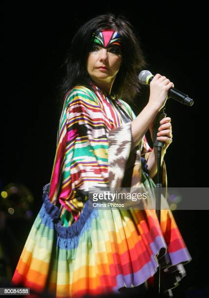 Icelandic singer Bjork performs during her concert at the Shanghai International Gymnastic Center as part of the Volta Tour on March 2 2008 in...