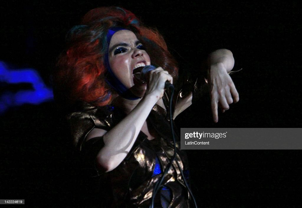 Icelandic singer Bjork performs live on stage during the 2012 Lollapalooza Music Festival at OHiggins Park on March 31, 2012 in Santiago, Chile.