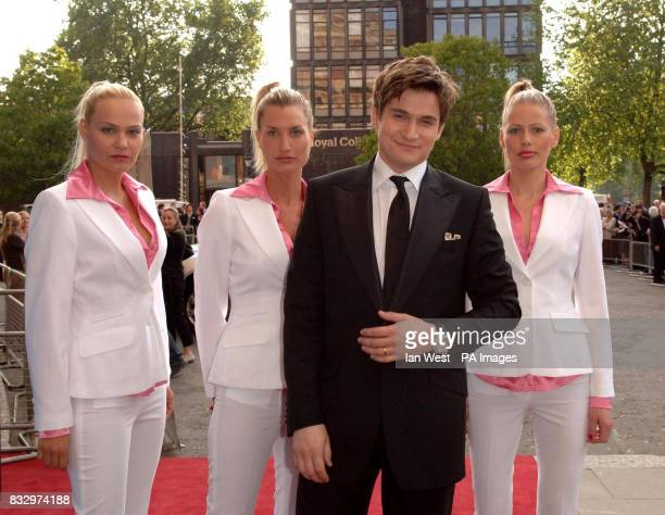 Icelandic tenor Gardar Thor Cortes arrives accompanied by a complement of female Icelandic security guards for the Classical Brit Awards at the Royal...