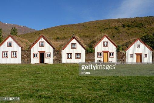 Icelandic turf houses in Laufas near Akureyri,Iceland